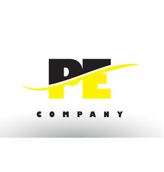 Pe p e black and yellow letter logo with swoosh vector