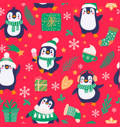 penguins seamless pattern cartoon cute penguins vector image