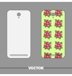 Phone Cover Pink Flowers On Green vector