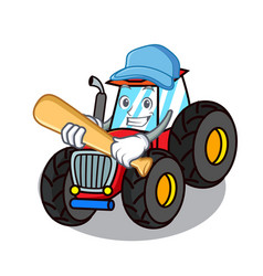 Playing baseball tractor character cartoon style vector