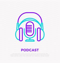 Podcast thin line icon headphones and microphone vector