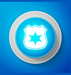 police badge icon isolated on blue background vector image