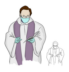 Priest or pastor with surgical mask giving a vector