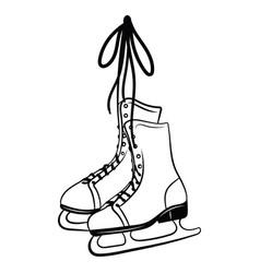 printshoes for figure skating black white vector image