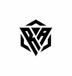 Ra logo monogram with triangle and hexagon modern vector