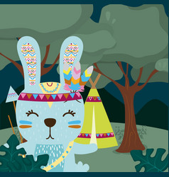 Rabbit cute hippie cartoon vector