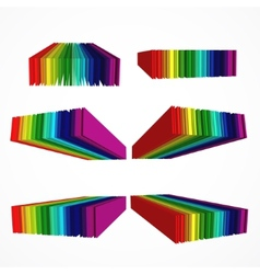 Rainbow colored 3d barcode set vector image