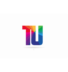 rainbow colored alphabet combination letter tu t vector image