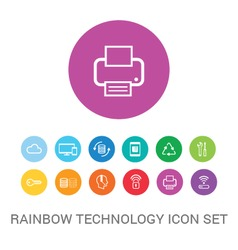 Rainbow technology icon set vector