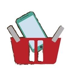 Red basket buying online smartphone commerce vector