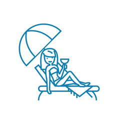 relax at the beach linear icon concept relax at vector image