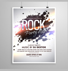 Rock music flyer poster template with ink splash vector
