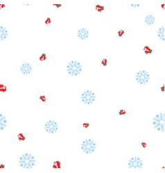 Santa claus in the fireplace tube and snowflake vector