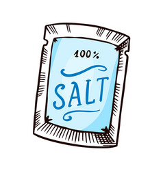 Sea salt packaging powdered powder and bunch of vector