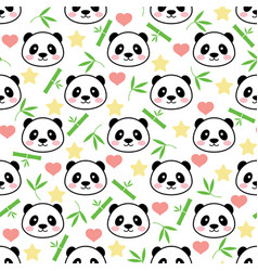 seamless cute panda pattern vector image