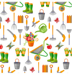 Seamless pattern with gardening tools on white vector
