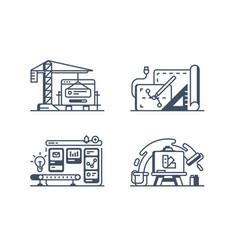 set design icons vector image