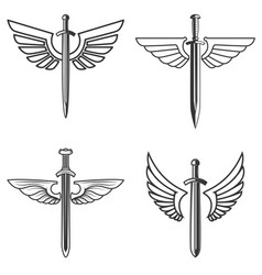 set emblems with medieval sword and wings vector image