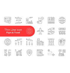 Set flight and travel lineart icon vector