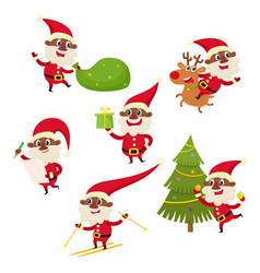 set of cartoon african santa claus isolated vector image