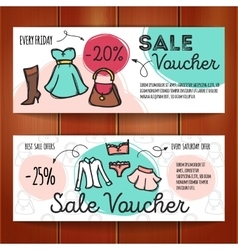 Set of discount coupons for woman clothes vector