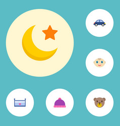 set of infant icons flat style symbols with winter vector image