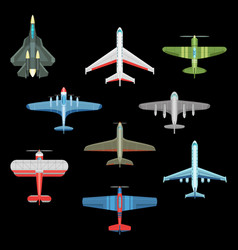 set of isolated military airplanes or warplanes vector image
