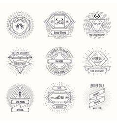 Shoemaking logo or shoes repair labels in hipster vector