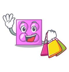 Shopping toy brick character cartoon vector
