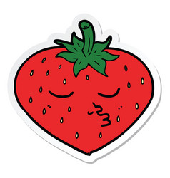 Sticker of a cartoon strawberry vector