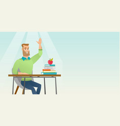 Student raising hand in class for an answer vector