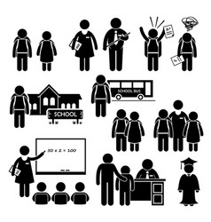 student teacher headmaster school children stick vector image