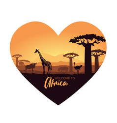 Stylized heart-shaped african landscape with wild vector