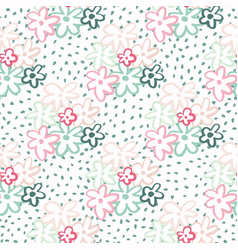 summer daisy shapes seamless doodle pattern on vector image