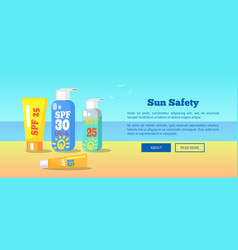 Sun safety banner depicting sunscreen lotions vector
