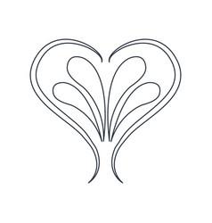 Swirl heart vintage baroque ornament style line vector