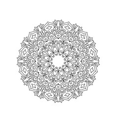 Symmetric mandala of coloring book for adults vector