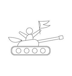 tank line icon vector image