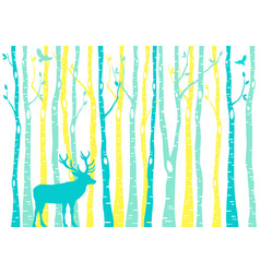 Teal and yellow birch tree forest with reindeer vector