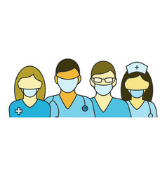 Team doctors and nurses vector