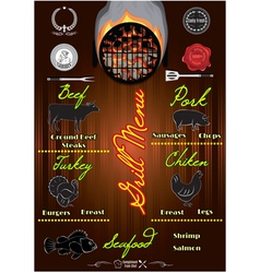 template for the cover of menu with fire vector image