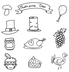 Thanksgiving set element on doodles vector