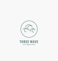 three sea wave logo icon in simple line monoline vector image