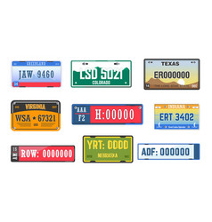 vehicle license car number plates isolated icons vector image