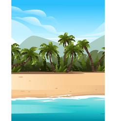 Vertical tropical landscape coast beautiful vector