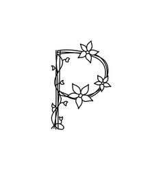 Vintage floral bold letter p logo spring classic vector