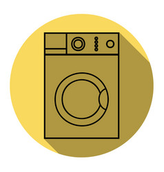washing machine sign flat black icon with vector image