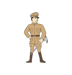World War One British Officer Standing Cartoon vector