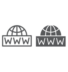 World wide net line and glyph icon communication vector