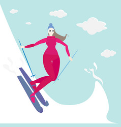 young woman do ski for web and print cute cartoon vector image